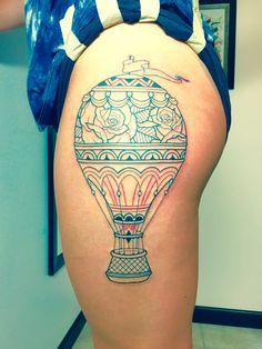 Hot air balloon #tattoo #hotairballon #goingplaces #thightattoo #roses #ink #photography