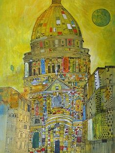 Christopher Tate Art - London Gallery | Christopher Tate Art | Cornish Artist City Scapes, Collage Art Mixed Media, Interesting Buildings, Mix Media, Oil Paintings, Cornwall, Taj Mahal, Literature, Landscapes