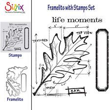 Sizzix Framelits Die Set w/Stamps - 659373 Leaf Blueprint by Tim Holtz (4PK)