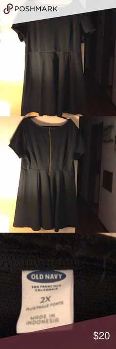 Old Navy a Line black dress Plus sized old navy black dress size 2X. A-line flared bottom and hits just above the knees. Old Navy Dresses Midi