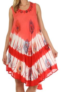 Sakkas 201RC Peacock Feather Caftan Dress / Cover Up - Blush - One Size