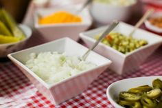 Finely chop onions and pickles into small pieces so guests can easily add a little or a lot.