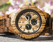 UD Mens Multi-Function Chronograph Personalized Engraved Wooden Watch,  Anniversary Gift, Groomsmen Gift, Gift for father, Gift for husband