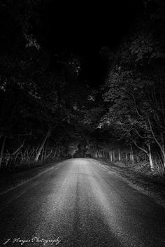 A dark road.