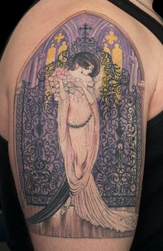 inspired roaring 20's design originally created by Icart, but now lovingly set in ink...i love love love the art of Icart and the reflection of his work in this tattoo!!!