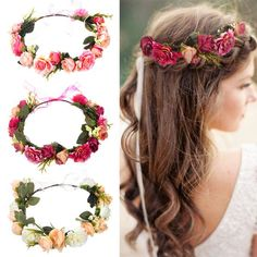 6a8367238f0 Women Bezel Flowers Crown Bridal Floral Headband Wreath Headband Wedding  Romantic Rose Peony Hair Accessories Bridesmaid