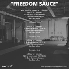 Decreasing reps. Increasing weight. Found this 3-part beauty from CrossFit Gridlock (Springfield, MA). It was posted on their website as their workout of the day for November 25, 2016. Details: https://wodwell.com/wod/freedom-sauce/ #wod #wodwell #crossfit #wod #fitness #functionalfitness #crossfitgridlock #burpees #overheadsquats #row #amrap #namedwod #benchmarkwod #testandretest