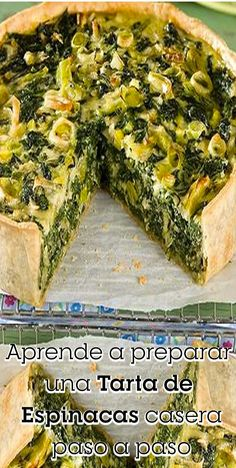 Con esta tarta de espinacas que te llevará tan solo 30 minutos de preparación . Spinach Recipes, Vegetable Recipes, Vegetarian Recipes, Healthy Recipes, Quiches, Easy Smoothie Recipes, Veggie Side Dishes, Cream Recipes, Kids Meals