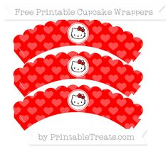 Free Red Heart Pattern  Hello Kitty Scalloped Cupcake Wrappers