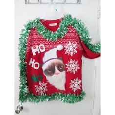 Xl Ugly Christmas Sweater Size 16-18 Grumpy Cat Santa Hilariously Ugly... ($65) ❤ liked on Polyvore featuring tops, sweaters, grey, pullovers, women's clothing, cat print top, christmas sweater, gray pullover sweater, pullover sweater and snowflake sweater