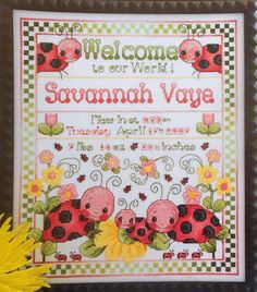 Cross stitch lady bugs birth announcement