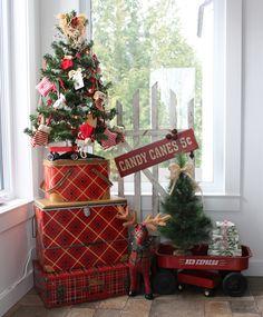 Vintage Tin Picnic Basket collection~Christmas Vintage Picnic Basket, Candy Cane, Tin, Christmas Tree, Holiday Decor, Collection, Home Decor, Teal Christmas Tree, Barley Sugar