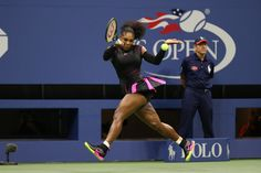 September 7, 2016 - Serena Williams in action against Simona Halep in a women's quarterfinal match during the 2016 US Open at the USTA Billie Jean King National Tennis Center in Flushing, NY. (Darren Carroll/USTA)