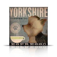 Yorkie dog Coffee Company Yorkshire Terrier by geministudio, $29.00+