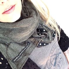 """Handmade 3SN snap button scarf with proverbs 31 """"clothed in strength and dignity"""" embroidered tag"""