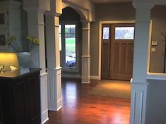 Astounding Cool Tips: Wainscoting Bedroom Tutorials wainscoting kitchen basements.Classic Wainscoting White Walls wainscoting interior entry ways. Beadboard Wainscoting, Dining Room Wainscoting, Wainscoting Panels, Wainscoting Ideas, Interior Columns, Interior Trim, Interior Door, Interior Ideas, Interior Design