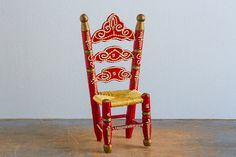 Wooden Ladder Back Chair with Woven Seat - Vintage Doll Furniture