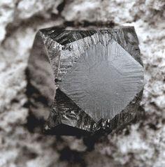Bixbyite, (Mn+++,Fe+++)2O3, Topaz Mountain, Thomas Range, Juab Co., Utah, USA. Dimensions: 4 x 2.5 x 1.5 cm. Mirror-like lustre crystal is 7mm. Copyright: © MIchael C. Roarke