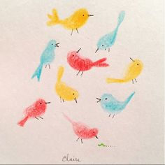 "Did you know a group of goldfinches is called a ""charm"" and a group of wrens is called a ""chime?"" Adorable. Color pencil & ink on paper. Artwork by Claire Mojher DeLucca."