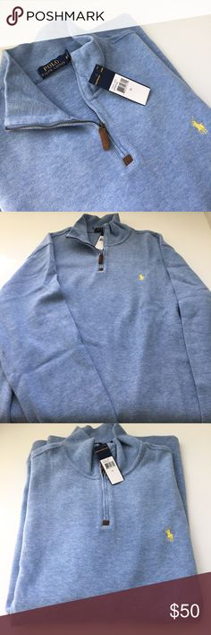 Men's Ralph Lauren Polo half-zip NWT!! Brand new and beautiful sweater/sweatshirt. Color is light blue. Very soft and cozy. These are my husband's favorite and literally has a dozen of these that he rotates in cool spring and fall weather. Only selling this one because it's the wrong size. Perfect condition. Size XL. 100% (very soft) cotton. Polo by Ralph Lauren Sweaters