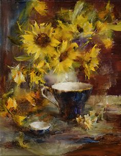 Sunflowers and Blue Cup by Laura Robb Oil ~ 14 x 11