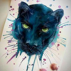 black panther #ilustración #illustration #arte #artwork #arts #drawing #draw #paint #painting #design #diseño #watercolor #ink  #watercolour