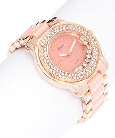 Look at this #zulilyfind! Rose Gold & Peach Floating Stone Bracelet Watch by Geneva Platinum #zulilyfinds