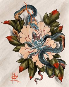 "165 Likes, 1 Comments - @jbtattoo on Instagram: ""I've got another new piece up for grabs. @thrivestudios #neojapanese #japanese #asian #peony #snake…"""