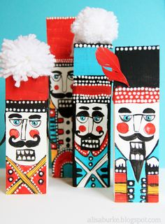 Alisa Burke, wood scrap & sharpie Nutcracker
