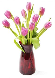 Valentines Pink Sugar Tulips 10 Pink Tulips with Vase -- Learn more by visiting the image link.