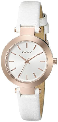 DKNY Women's Stanhope Quartz Stainless Steel and White Leather Casual Watch (Model: NY2405) *** Remarkable product available now.