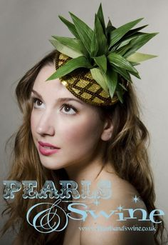 Fabulously kitsch pineapple fascinator,twinkly!