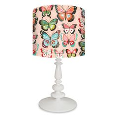 Pink Butterflies Lamp Shade and Base in 6 color options. $138 Full Lamp. $69 Shade Only. By Katie Daisy