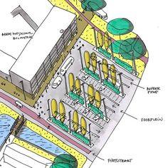 Inrichtingsplan voor het terrein van de Brede Zorgschool met entreeplein voor…