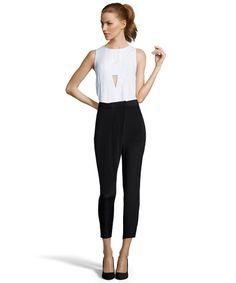 REBECCA MINKOFF Black Silk Crepe 'Grayson' Pleated Front Pants. #rebeccaminkoff #cloth #pants, leggings & jumpsuits