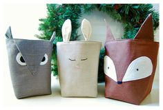 Forest Friends Box Fox Owl Bunny Rabbit SET 3 diaper caddy Linen Organizer Weddings decor Storage Embroidery Gift Wrap