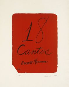 Barnett Newman, Eighteen Cantos: Title Page (Lithograph on paper, 1963-4)