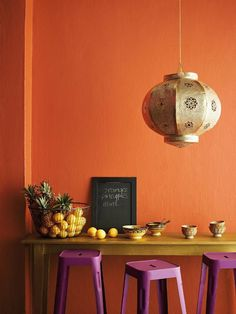 Typically I don't like the colors orange and purple together for an interior space, but I think this room works. Orange Rooms, Living Room Orange, Bedroom Orange, Orange Walls, Rugs In Living Room, Orange Kitchen Walls, Interior Rugs, Living Room Interior, Interior Design