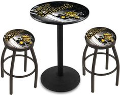 Wichita State Shockers W D2 Black Pub Table Set.  Available in two table widths. Visit SportsFansPlus.com for Details.