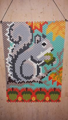 Squirrel Beaded Banner by CraftingAddiction on Etsy Pony Bead Patterns, Beaded Jewelry Patterns, Peyote Patterns, Beading Patterns, Quilt Patterns, Bead Jewelry, Canvas Patterns, Bead Earrings, Embroidery Patterns