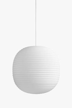 The Lantern Pendant is inspired by the iconic Scandinavian rice paper lamp,  Lantern is a modern example of what happens if you mix an old form with new  materials. The glass is frosted which makes the light calming, and with its  round form the lamp has a comfortable presence in almost any room.  Design  Anderssen & Voll  Dimensions H: 400 x Ø: 400 mm