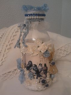 Lace and Pearls Handmade Creations* Altered bottle* Recycled Wine Bottles, Bottles And Jars, Glass Bottles, Perfume Bottles, Glass Bottle Crafts, Wine Bottle Art, Jar Art, Shabby Chic Crafts, Altered Bottles