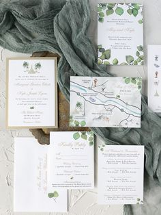 3 Ways To Cut Costs without Compromising The Invitation Design mountain wedding invitations, outdoorsy wedding invitations, watercolor wedding map, aspen leaves w Map Wedding Invitation, Mountain Wedding Invitations, Wedding Invitation Etiquette, Minimalist Wedding Invitations, Classic Wedding Invitations, Invitation Design, Invitation Suite, Wedding Stationary, Invitation Templates