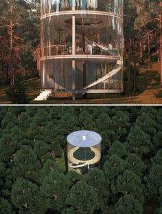 Tree In the House is a conceptual design by A.Masow that takes tree hugging to new heights, enclosing one tree from a forest filled with them in a minimalist multi-story cylinder.