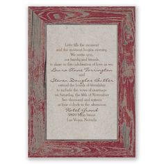 rustic, country, wood wedding invitation I rustic frame in barn red I also available in aqua and mocha