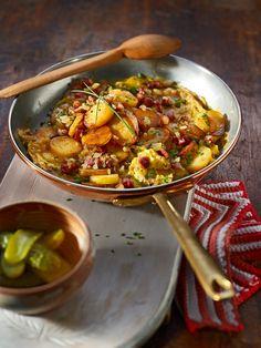 Bauernfrühstück - Kartoffeln mit Speck und Ei