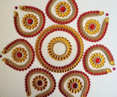 8 Pieces Beautiful Red and Golden Yellow Rangoli by Kalakruti