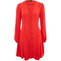Button Through Long Sleeve Skater Dress by Nobody's Child ($33) ❤ liked on Polyvore featuring dresses, red, long sleeve day dresses, skater dresses, red skater dresses, long sleeve button dress and viscose dresses