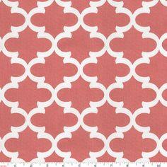 Coral Quatrefoil Fabric by Carousel Designs.