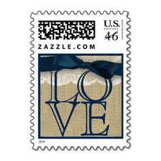 Navy Blue Ribbon and Burlap Love Postage Stamps